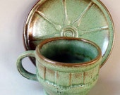 Frankoma Wagon Wheel Cup and Saucer in Prairie Green - 1950s Southwestern Pottery Cowboy Coffee Mug and saucer set