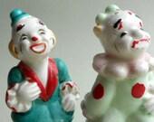 Vintage circus clown salt and pepper shakers - handpainted comics