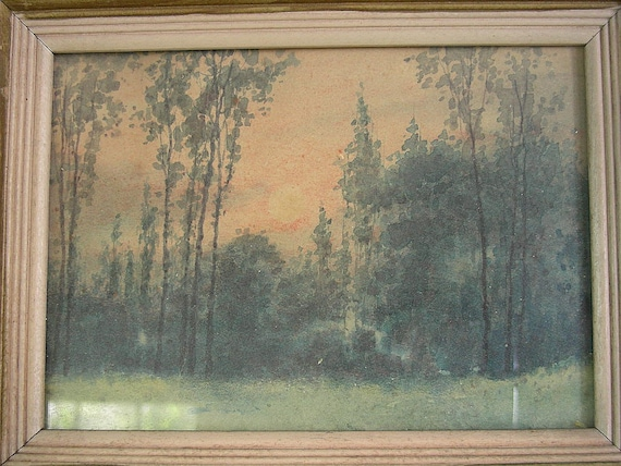 Vintage 1920s landscape painting original watercolor art by artist L. Vasser Elam - tiny and stunning 1920 treasure