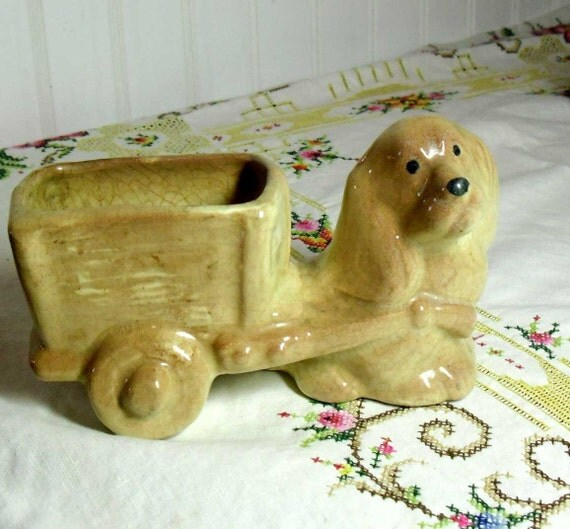 Vintage Cocker Spaniel Dog Figurative Planter - windowsill ceramic container plant pot