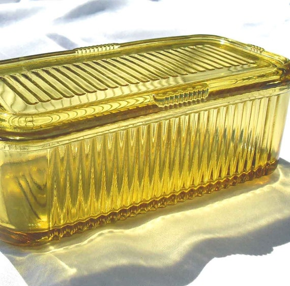 Vintage Depression Glass Refrigerator Dish Amber By By