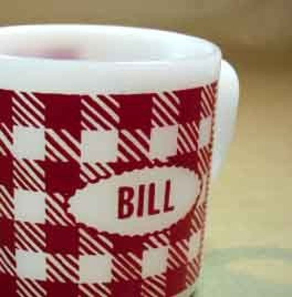 1970s coffee cup - Red and White gingham check for Bill