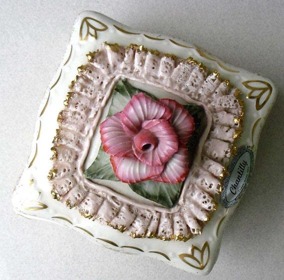 Vintage Chantilly trinket box pink and gold porcelain dresser box for your romantic retro boudoir