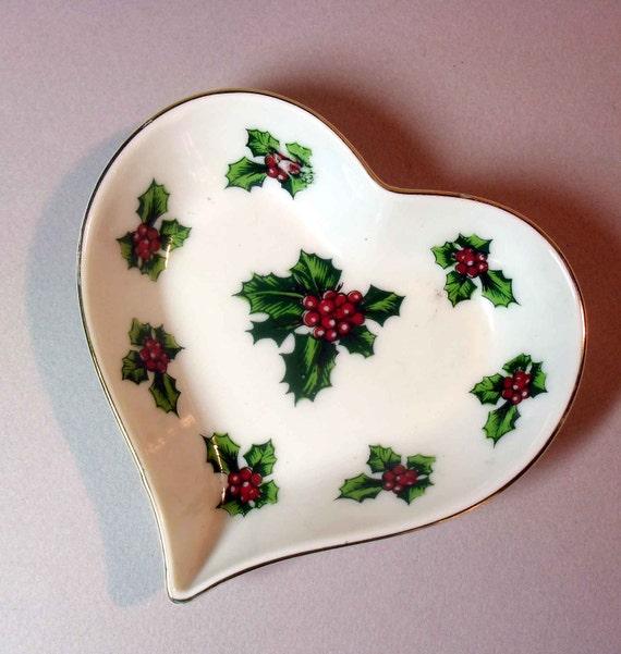 Vintage Christmas Decor, Lefton China Handpainted porcelain holly heart shaped dish or bowl Holidays Decor