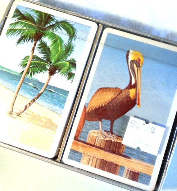 Playing cards, swanky palm trees and pelican art , 2 decks for your vintage bar or game room