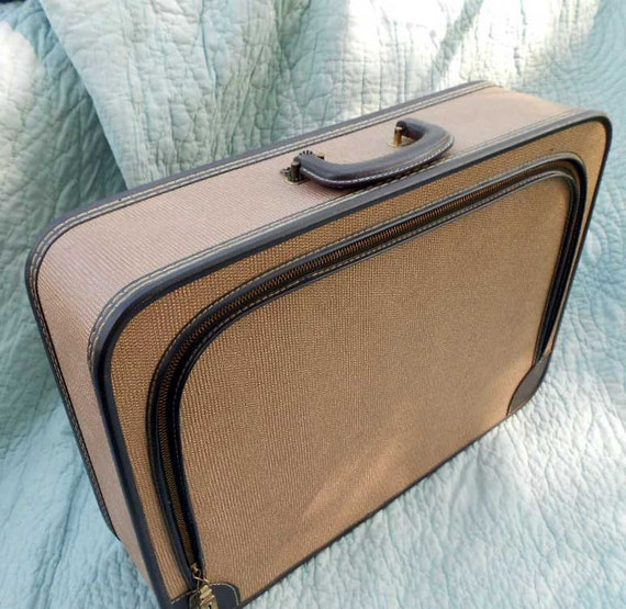 "Reserved for Andrienne, Only, Vintage suitcase, soft sided, with key, 20"" x 14"", contrasting stitching"