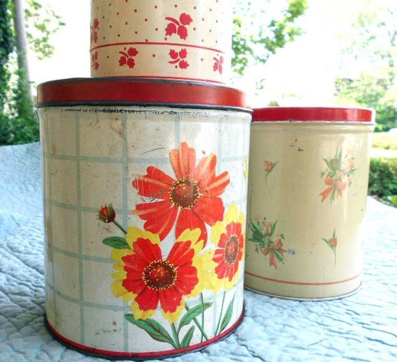 Retro Red Kitchen Canisters - Instant Collection of Vintage tin canisters