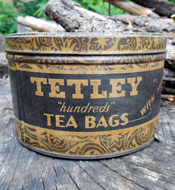 Vintage Kitchen Tin, gold and black Tetley Tea tin with outstanding graphics and cool old typeface letters
