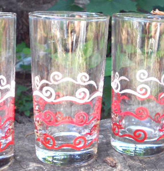 Red Kitchen Glassware: Vintage Retro Red Kitchen Glasses Set Of 4 Libbey By