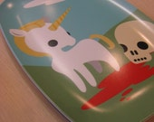 Unicorn and skull with blood  tray 14 x 10 inches