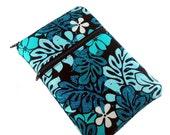 Monogrammed Kindle fire case, kindle touch case, kindle keyboard case in blue, teal and black leaf floral