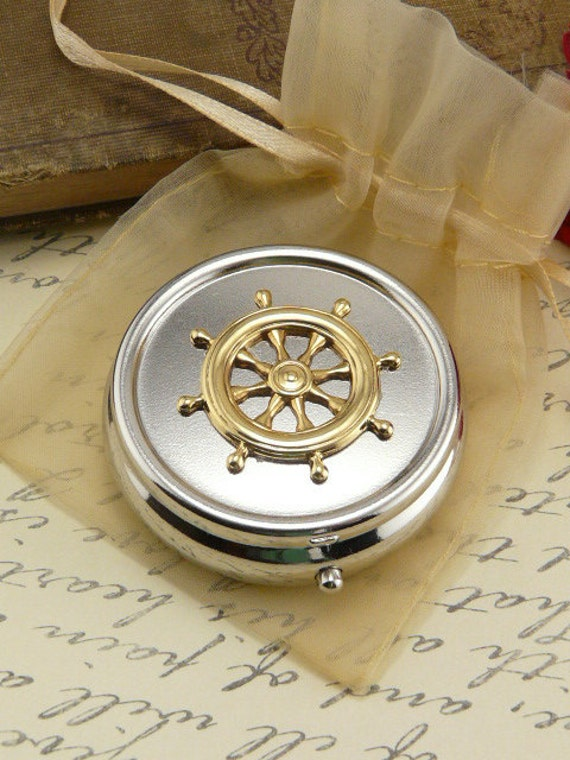 Ships Wheel Pill Box Case -  Gift Present
