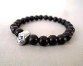 877 bracelet black wood pearls monkey head