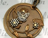 Silver Flowers Butterfly Brass Necklace B17