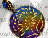 Chrysanthemum Pendant Necklace Embossed Brass Blue, Purple, Yellow