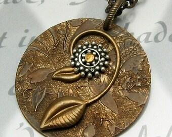 Brass Leaf Necklace, Sterling Silver Flower B1