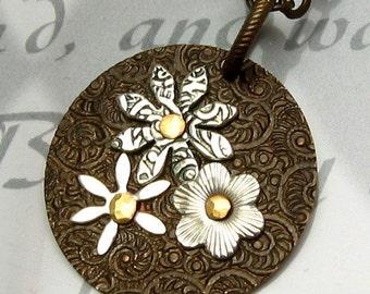 Flower Pendant Brass Silver B15