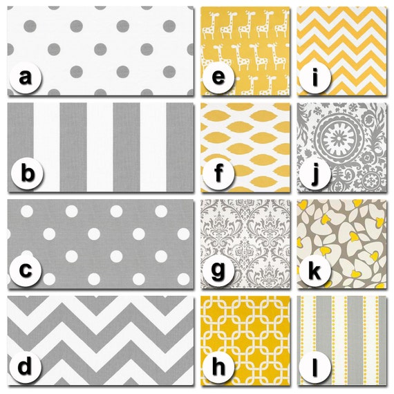 Custom Crib Bedding You Design   Bumper and Bedskirt in Gray and Yellow Premier