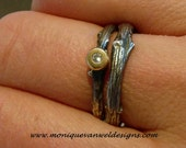 Sterling silver engagement/wedding twig ring with diamond and 14k yellow gold made to order