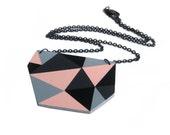 Geometric Triangle Necklace Peach Pink