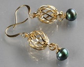 gold cage earrings, iris green pearl, by balance9
