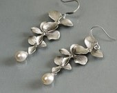 Orchid earrings, trio flowers dangle, pearl drop, delicate bridesmaid wedding jewelry, everyday gift, by balance9