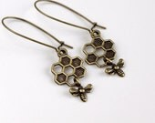 honeycomb honey bee kidney Earrings, Antiqued brass delicate dangle, by balance9