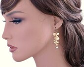 Gold orchid earrings, dainty flower earrings, trio flower dangle, pearl drop, bridesmaids gift, wedding jewelry, by balance9