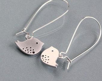Bird Earrings, dainty bird earrings, silver kidney dangle, delicate small dove charm, love birds, by balance9