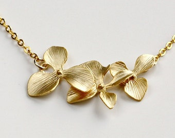 Gold Orchid Necklace, dainty flower necklace, Trio Flowers charm pendant, holidays gift, bridesmaid wedding jewelry, by balance9