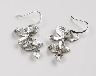 Orchid Earrings, Two  Flowers, Wedding Jewelry, by balance9