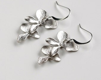 Orchid Earrings, Two  Flowers, Wedding Jewelry, holidays gift, by balance9