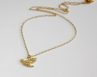 flying bird necklace, 14k gold filled chain, small dainty charm pendant, delicate everyday jewelry, by balance9