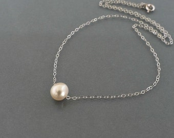 Single pearl necklace, everyday jewelry, Sterling silver chain, one pearl necklace, Floating pearl, bridedmaid wedding gift, by balance9