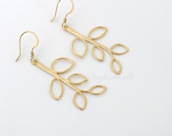 gold leaf earrings, dainty branch earrings gift, leafy dangles, gold filled earwire, delicate everyday jewelry, holidays gift, by balance9
