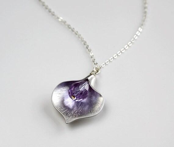 Silver Calla flower Lavender crystal Necklace