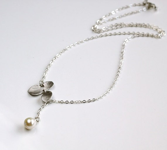 Silver orchid flower lariat necklace, white pearl