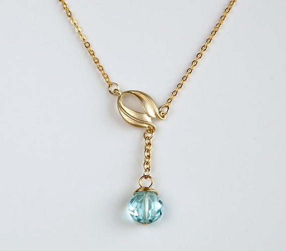 Tulip necklace, gold flower necklace, aqua blue crystal pendant, delicate everyday jewelry, holidays gift, by balance9