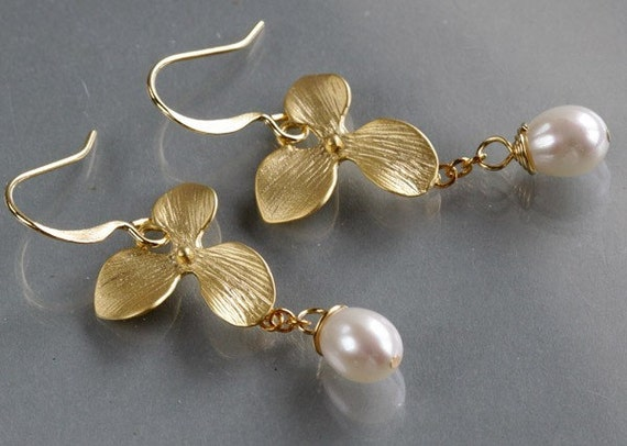 Gold orchid earrings, delicate flower charm dangle white pearl drop, bridesmaids gift wedding jewelry, everyday, by balance9