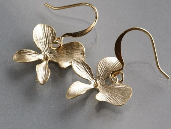 Orchid Earrings, Gold One  Flower Design, delicate charm dangle, simple everyday jewelry, by balance9