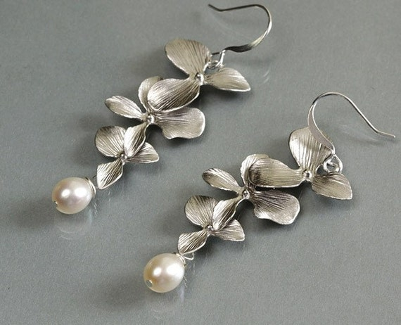 Orchid earrings, trio flowers dangle earrings, pearl drop, delicate bridesmaid wedding jewelry, everyday gift, by balance9