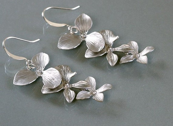 Silver orchid earrings, trio flowers, white gold plated