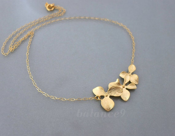 Orchid flower necklace, dainty orchid necklace, Gold filled chain, trio flowers, bridesmaid wedding jewelry, holidays gift, by balance9