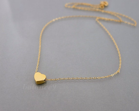 Gold Heart Necklace, dainty heart necklace, simple small charm jewelry, gold filled chain, everyday love jewelry, holidays gift, by balance9