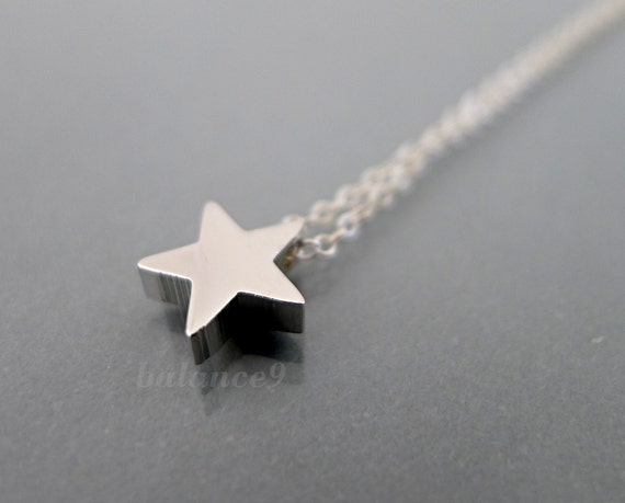 Dainty star necklace, small charm necklace, minimalist simple star pendant, sterling silver chain, delicate jewelry gift, by balance9