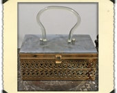 Vintage Box Purse 1950's  with Lucite Handle - NobleSavageVintage