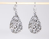 Silver filigree earings with sterling silver ear wires