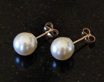 Simply Pearl Bridal/Wedding Earrings--Cream/Gold