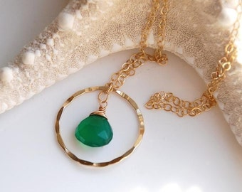 Green onyx teardrop and 14K gold filled loop necklace