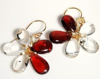 Garnet and Tourmalinated Quartz 14K gold filled wire wrapped flower earrings